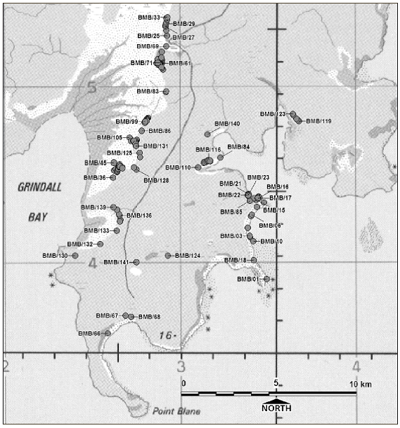 Distribution of sites in the study area (published in Australian Archaeology 59:26).
