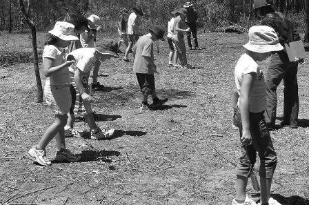 Students from Gympie West State School surveying a grid square for artefacts (published in Australian Archaeology 61:77).