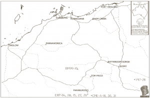 Map showing the Pilbara region (published in Australian Archaeology 60:59).