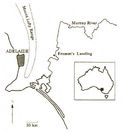 Map showing the location of Fromms Landing (published in Australian Archaeology 49:48).