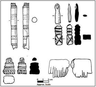 Byrne Collection: Examples of carved bone artefacts.